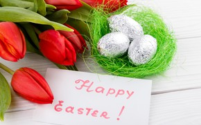 Picture flowers, holiday, eggs, spring, Easter, socket, tulips