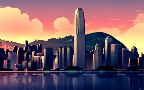 Picture Sunset, Water, Vector, The city, View, Style, Skyscrapers, Hills, Building, The building, Architecture, Art, Skyscraper, …