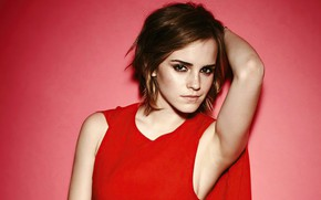 Picture look, girl, pose, background, red, makeup, actress, Emma Watson, beautiful