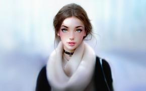 Picture Girl, Look, Lips, Face, Girl, Eyes, Portrait, Brown hair, Art, Portrait, Iraqi Nadar, by Irakli …