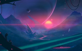 Picture moon, fantasy, science fiction, mountains, sun, spaceship, sci-fi, artist, digital art, artwork, alien world, fantasy …