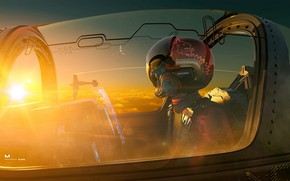 Picture Sunset, The sun, The sky, The plane, Helmet, Cabin, Art, Art, Airplane, Pilot, Concept Art, ...
