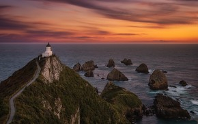 Picture twilight, New Zealand, Nugget Point Lighthouse