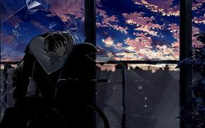 Picture sunset, fragments, window, hugs, guys, Durarara, Durarara, Shizuo Heiwajima, Of Izaya Orihara, wheelchair