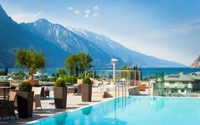 Picture mountains, lake, pool, Alps, cafe, the hotel, Garda, Riva Del Garda