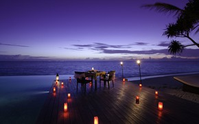 Picture the ocean, shore, the evening, candles, pool, resort, table, Maldives, dinner, Jumeirah Dhevanafushi, Romance at …
