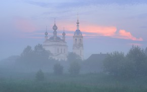 Picture summer, the sky, grass, clouds, trees, fog, house, blue, morning, meadow, Church, haze, temple, Russia, …
