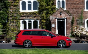 Picture red, movement, Volkswagen, universal, 2015, Golf R Estate