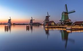 Picture lights, the evening, mill, Netherlands, Holland, Zaanse Schans