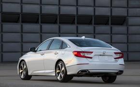 Picture white, Honda, Accord, sedan, rear view, 2018, Touring, 2.0T, four-door