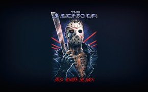 Picture Minimalism, Skull, Robot, Style, Background, Mask, Friday the 13th, Jason Voorhees, Art, Art, Horror, Robot, …