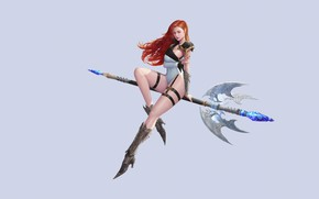 Picture Girl, Minimalism, Girl, Witch, Beautiful, Red, Staff, Beautiful, Redhead, Minimalism, Witch, Staff, by Muel Kim, …
