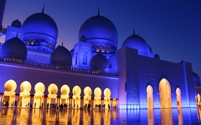 Picture the city, the evening, mosque, architecture, religion, UAE, dome, The Sheikh Zayed Grand mosque, Abu …
