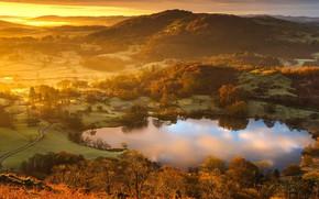 Picture England, glow, The lake district, Cumbria, lake Latrigg tarn