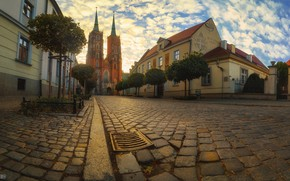 Picture the city, street, home, Poland, Church, bridge, Wroclaw