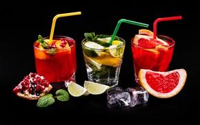 Wallpaper mint, drinks, glasses, cocktails, lime, tube, citrus, ice cubes, garnet