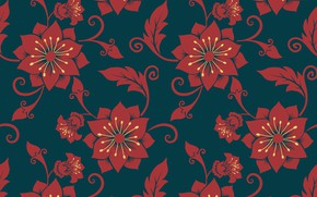 Picture flowers, blue, red, background, texture
