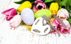 Picture flowers, eggs, colorful, Easter, tulips, happy, heart, wood, pink, flowers, tulips, Easter, purple, eggs, decoration