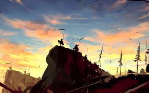 Picture Figure, Warrior, Hill, Fantasy, Art, War, Concept Art, Dominik Mayer, Banner, by Dominik Mayer, Front …