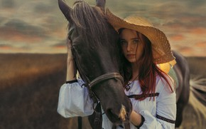 Picture look, girl, horse, horse, hat, Ivan Losev, horse-face