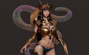 Picture rendering, fantasy, art, Jihyun Heo, Snake Witch Doctor