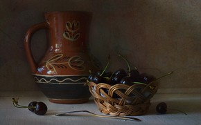 Picture table, basket, dishes, pitcher, still life, cherry