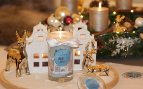Picture holiday, candles, Christmas, New year, houses, deer, Christmas decorations, новогодние декорации