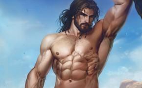 Picture look, warrior, art, male, beard, muscle