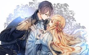 Picture smile, dance, gloves, long hair, military uniform, flower in hair, blue dress, epaulette, waltz, eye …