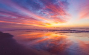 Picture waves, beach, sea, coast, sunrise, tide