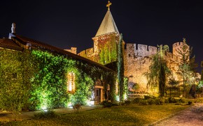 Picture trees, night, lights, wall, tower, fortress, the bushes, Serbia, Belgrade, Belgrade Fortress