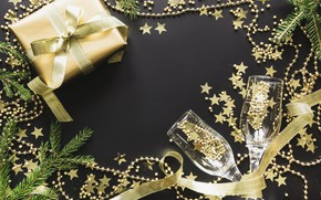 Picture holiday, gift, new year, glasses, tape, decor, composition, Svetlana Cherruty