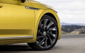 Picture yellow, wheel, Volkswagen, disk, 2018, the front part, R-Line, liftback, 2017, Arteon