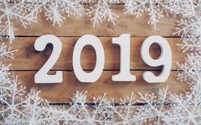 Wallpaper winter, snowflakes, tree, Board, New Year, new year, wood, winter, background, snowflakes, 2019