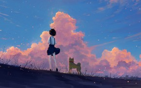 Picture the sky, girl, sunset, nature, dog, Axle