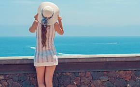 Picture girl, wall, summer, sky, hat, beach girl, beautiful beach