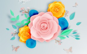Picture white, flowers, paper, background, pattern