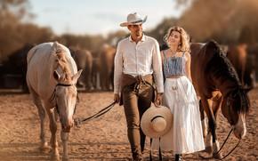 Picture girl, joy, smile, photo, hat, horse, male, lovers, Irina Nedyalkova