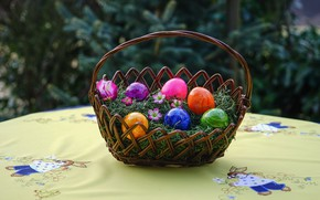 Picture table, basket, eggs, Easter