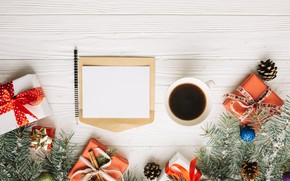 Picture balls, tree, New Year, Christmas, gifts, Christmas, balls, cup, New Year, gift, coffee, decoration, Happy, …