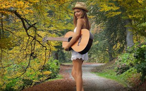 Picture forest, guitar, Girl
