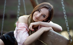 Picture look, pose, swing, model, skirt, portrait, makeup, hairstyle, blouse, brown hair, beauty, sitting, bokeh, smiling, …