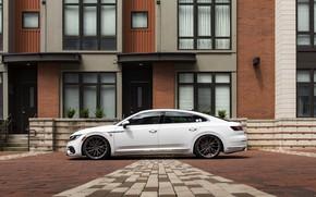 Picture white, tuning, Volkswagen, side view, R-Line, liftback, Arteon, 2019