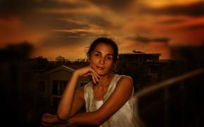 Picture girl, sky, beautiful, brunette, look, Nargis, Kide FotoArt
