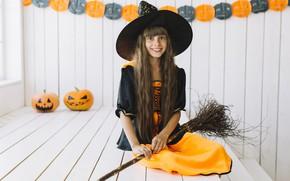 Picture look, pose, smile, girl, Halloween, pumpkin, Halloween, broom, cap