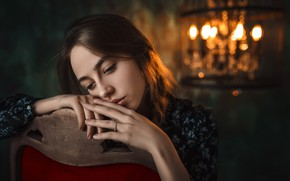 Picture girl, reverie, face, lights, pose, portrait, hands, makeup, dress, hairstyle, twilight, beautiful, sitting, bokeh, on …