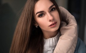 Picture look, model, portrait, makeup, jacket, hairstyle, brown hair, beauty, bokeh, jumper, Andrey Vechkenzin, Nadya Novikova