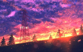 Picture girl, sunset, nature, bike