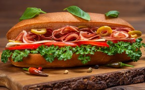 Picture food, cheese, sandwich, tomatoes, olives, parsley, roll, Basil