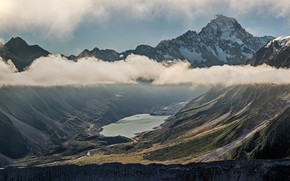 Picture mountains, fog, lake, the slopes, tops, pond